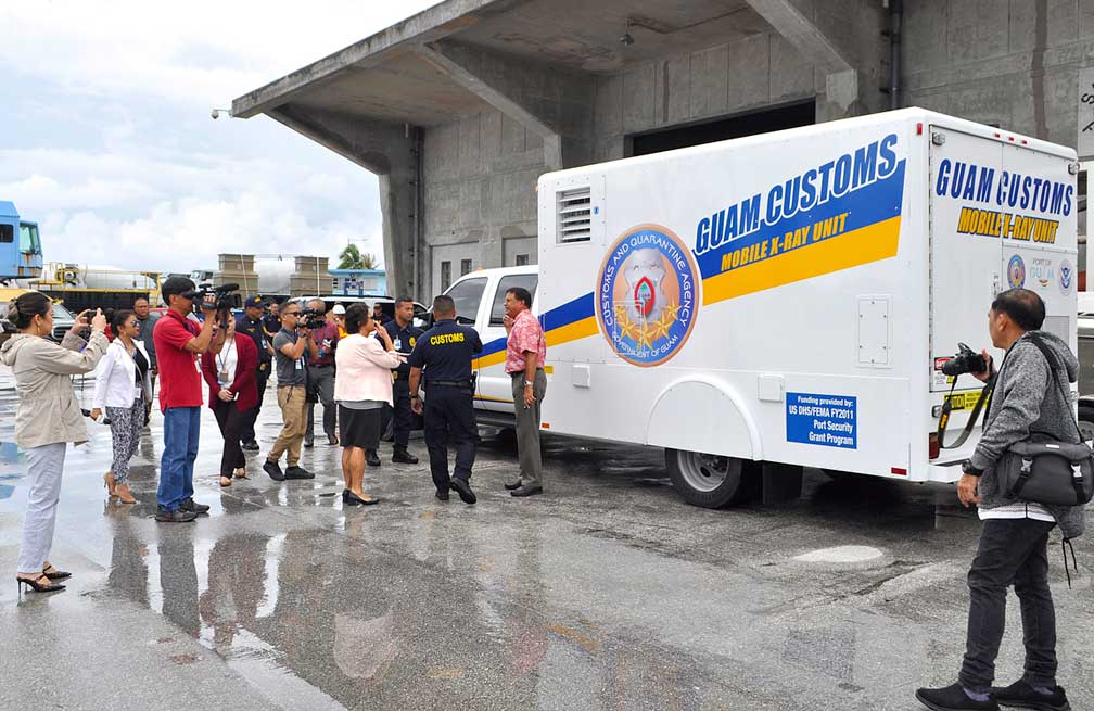 Customs & Quarantine Agency's X-Ray and Drug Detector Dog Unit conduct container inspection